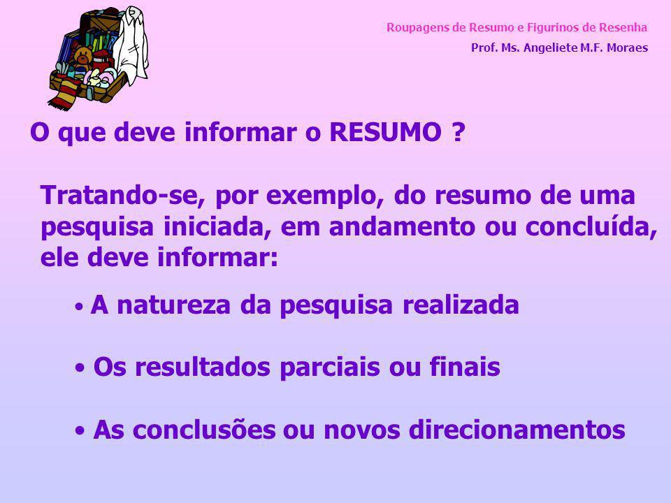 Roupagens de Resumo e Figurinos de Resenha Prof. Ms. Angeliete M.F. Moraes O que deve informar o RESUMO ? Tratando-se, por exemplo, do resumo de uma p
