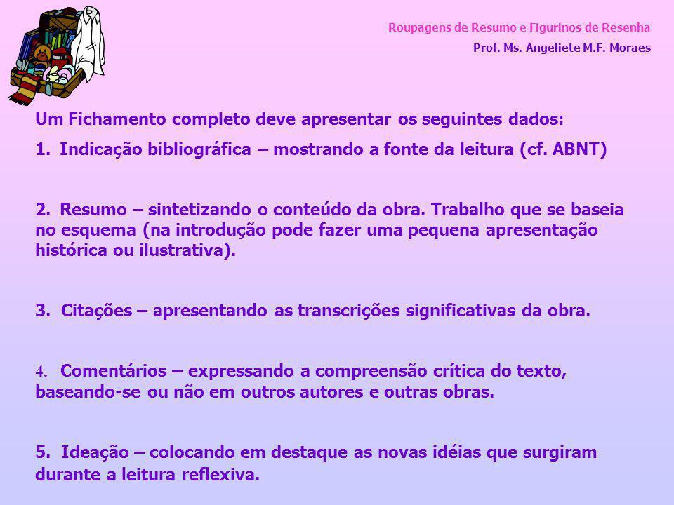Roupagens de Resumo e Figurinos de Resenha Prof. Ms. Angeliete M.F. Moraes Um Fichamento completo deve apresentar os seguintes dados: 1. Indicação bib
