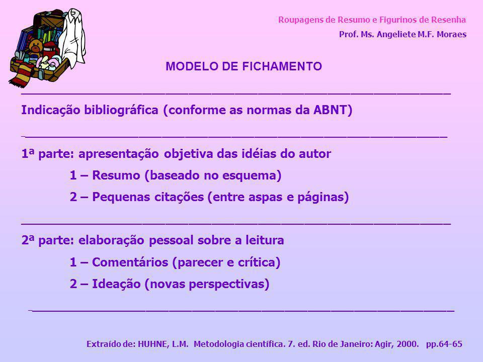 Roupagens de Resumo e Figurinos de Resenha Prof. Ms. Angeliete M.F. Moraes MODELO DE FICHAMENTO ______________________________________________________