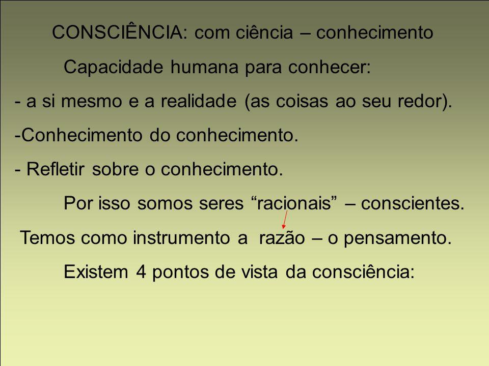 CONSCIÊNCIA: com ciência – conhecimento Capacidade humana para conhecer: - a si mesmo e a realidade (as coisas ao seu redor). -Conhecimento do conheci