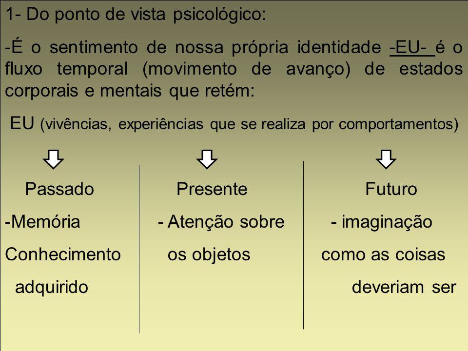 1- Do ponto de vista psicológico: -É o sentimento de nossa própria identidade -EU- é o fluxo temporal (movimento de avanço) de estados corporais e men