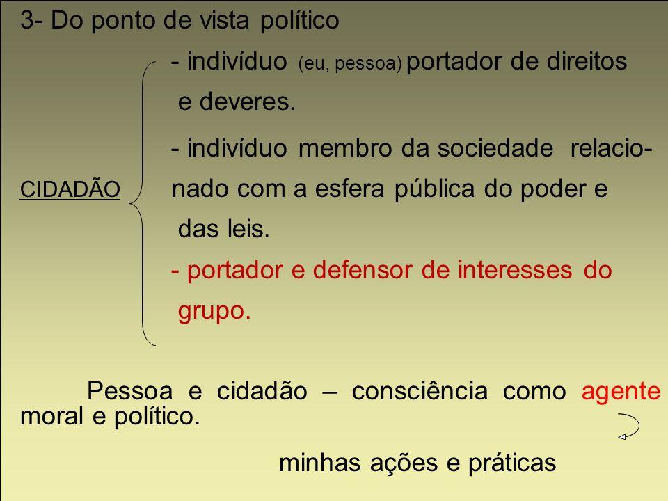3- Do ponto de vista político - indivíduo (eu, pessoa) portador de direitos e deveres. - indivíduo membro da sociedade relacio- CIDADÃO nado com a esf