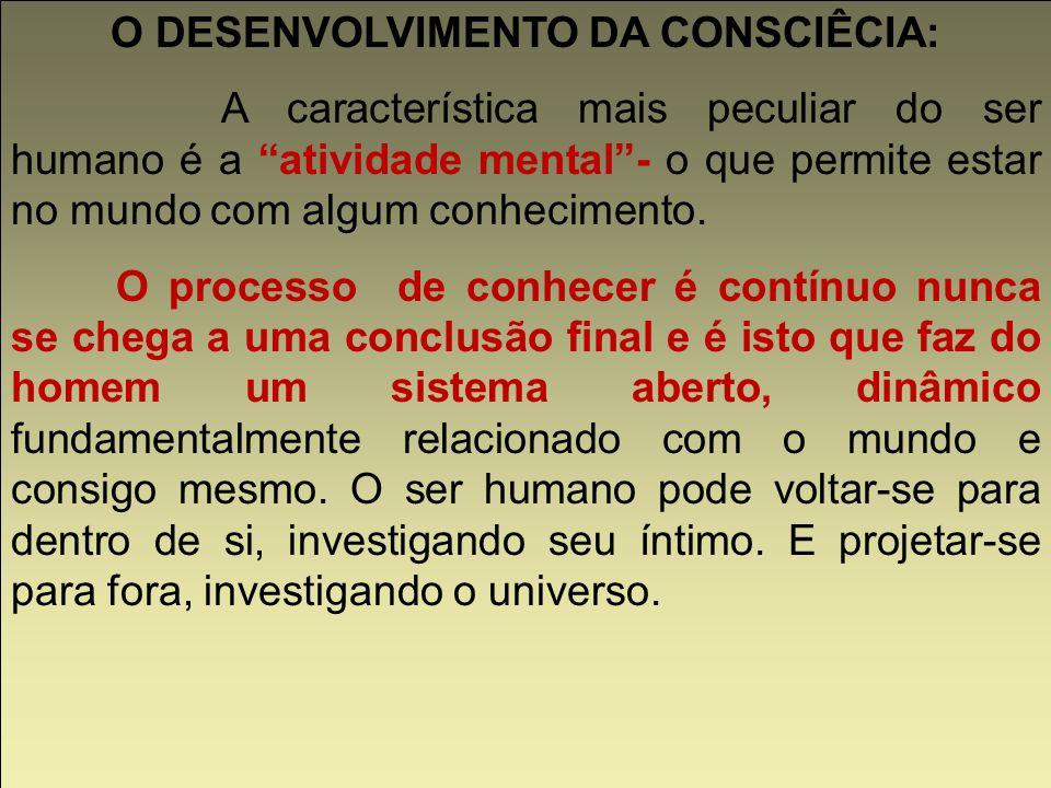 Consciência Crítica: O conhecimento centra-se na pesquisa sobre o próprio sujeito e também sobre os objetos exteriores (alteridade - outro).