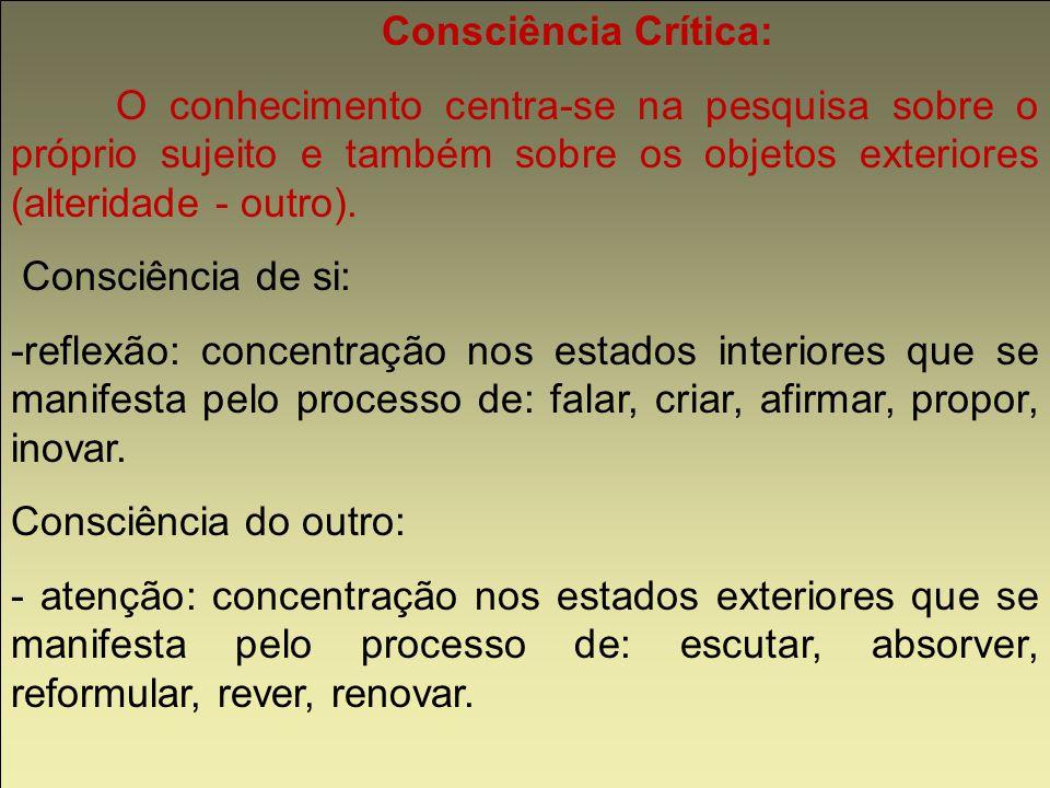 Consciência Crítica: O conhecimento centra-se na pesquisa sobre o próprio sujeito e também sobre os objetos exteriores (alteridade - outro). Consciênc