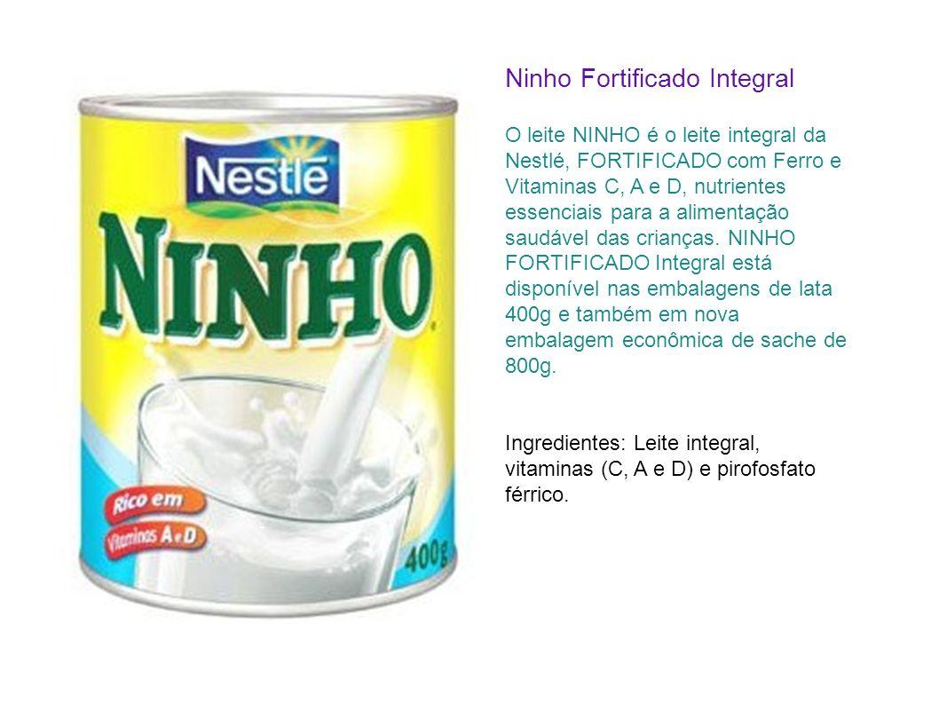 Ninho Fortificado Integral O leite NINHO é o leite integral da Nestlé, FORTIFICADO com Ferro e Vitaminas C, A e D, nutrientes essenciais para a alimen