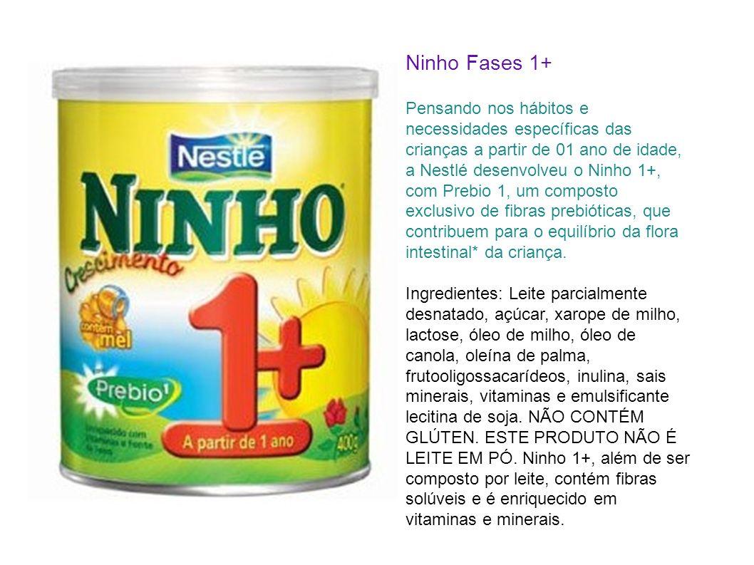 Ninho Fases 1+ Pensando nos hábitos e necessidades específicas das crianças a partir de 01 ano de idade, a Nestlé desenvolveu o Ninho 1+, com Prebio 1