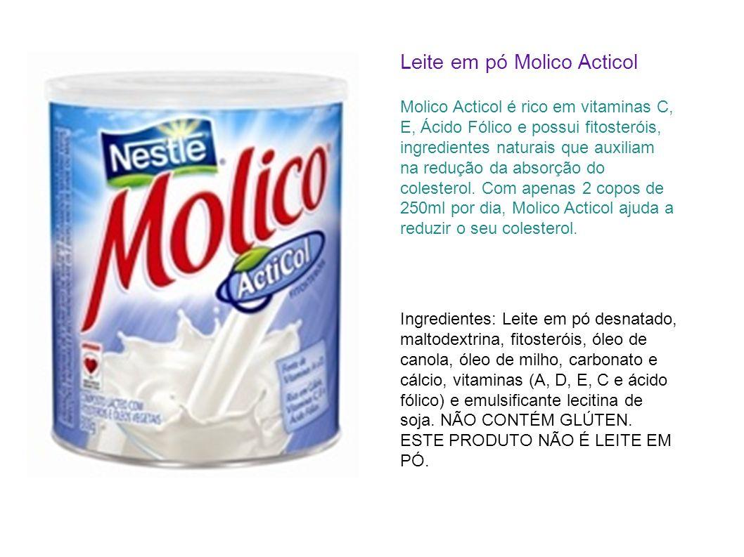 Leite em pó Molico Acticol Molico Acticol é rico em vitaminas C, E, Ácido Fólico e possui fitosteróis, ingredientes naturais que auxiliam na redução d