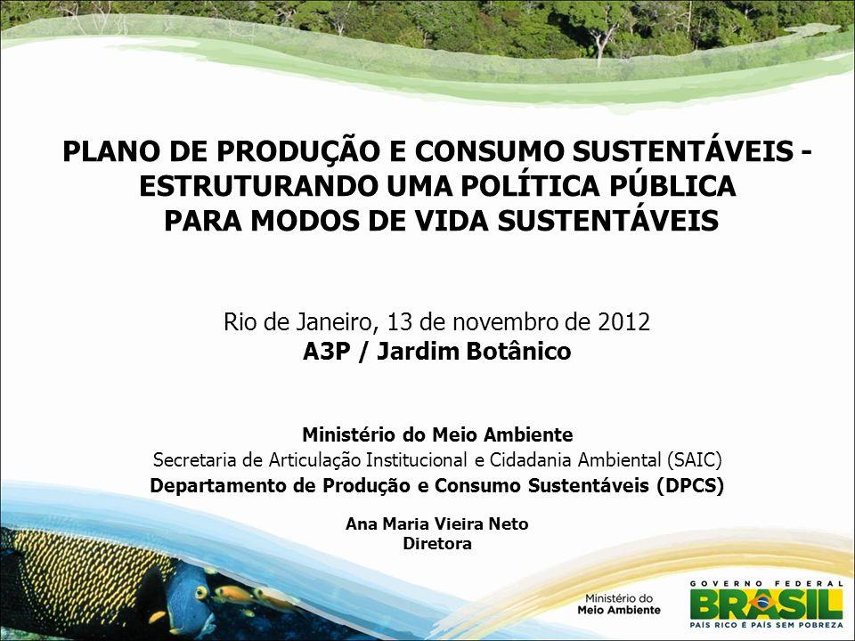PLANO DE PRODUÇÃO E CONSUMO SUSTENTÁVEIS - ESTRUTURANDO UMA POLÍTICA PÚBLICA PARA MODOS DE VIDA SUSTENTÁVEIS Rio de Janeiro, 13 de novembro de 2012 A3P / Jardim Botânico Ministério do Meio Ambiente Secretaria de Articulação Institucional e Cidadania Ambiental (SAIC) Departamento de Produção e Consumo Sustentáveis (DPCS) Ana Maria Vieira Neto Diretora