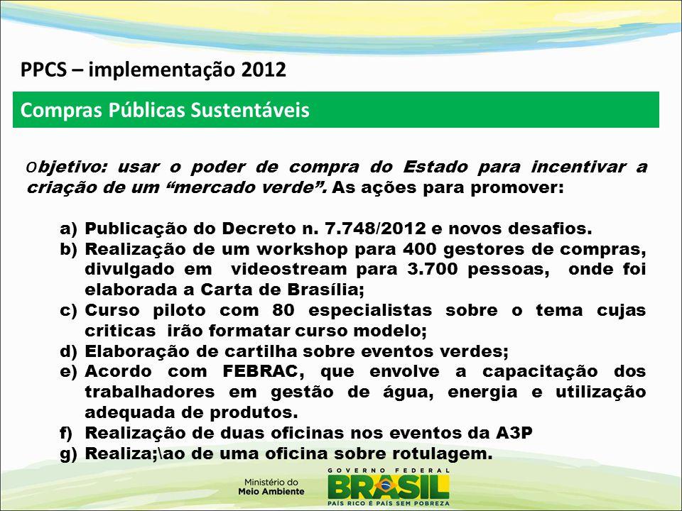 PPCS – implementação 2012 O bjetivo: usar o poder de compra do Estado para incentivar a criação de um mercado verde .