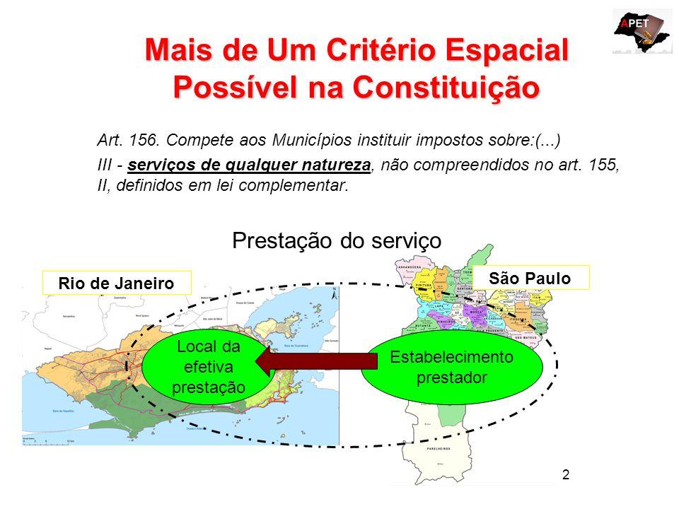 13 ESTABELECIMENTO PRESTADOR - DEFINIÇÃO EXEGESE DOS ART.3º e 4º da LC nº 116/2003 Art.