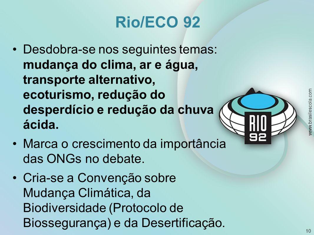 Rio/ECO 92 Desdobra-se nos seguintes temas: mudança do clima, ar e água, transporte alternativo, ecoturismo, redução do desperdício e redução da chuva