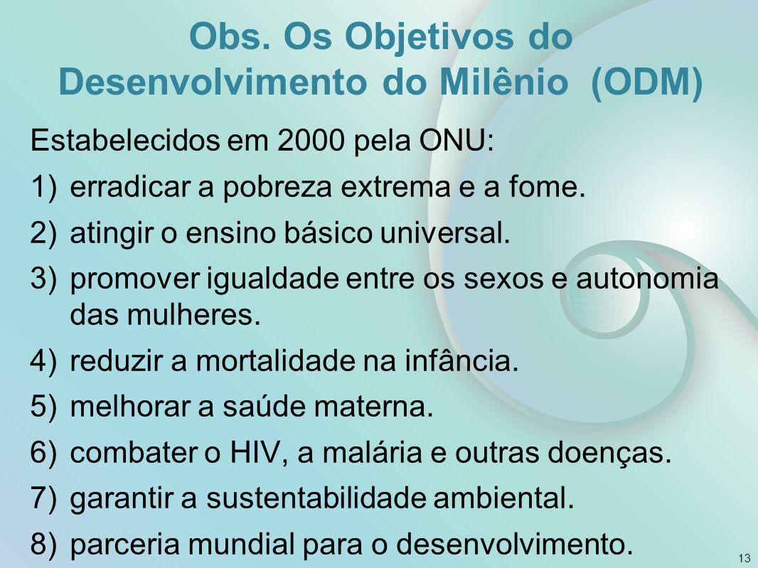 Obs. Os Objetivos do Desenvolvimento do Milênio (ODM) Estabelecidos em 2000 pela ONU: 1)erradicar a pobreza extrema e a fome. 2)atingir o ensino básic