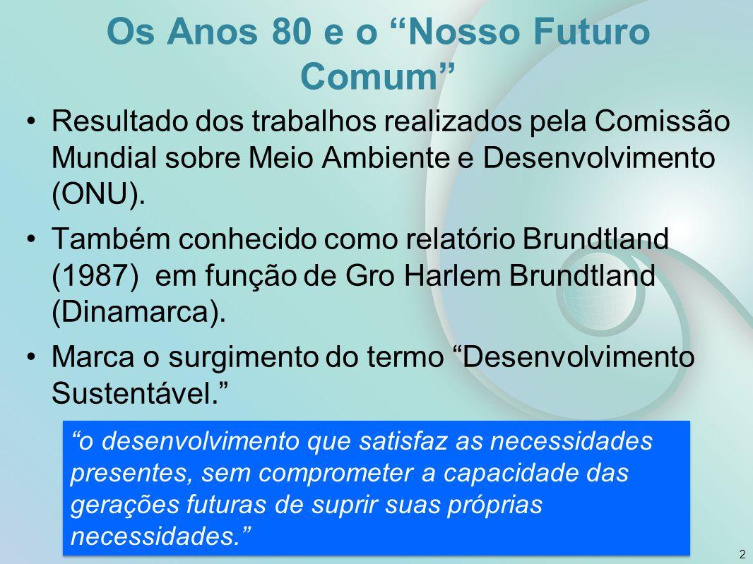 """Os Anos 80 e o """"Nosso Futuro Comum"""" Resultado dos trabalhos realizados pela Comissão Mundial sobre Meio Ambiente e Desenvolvimento (ONU). Também conhe"""