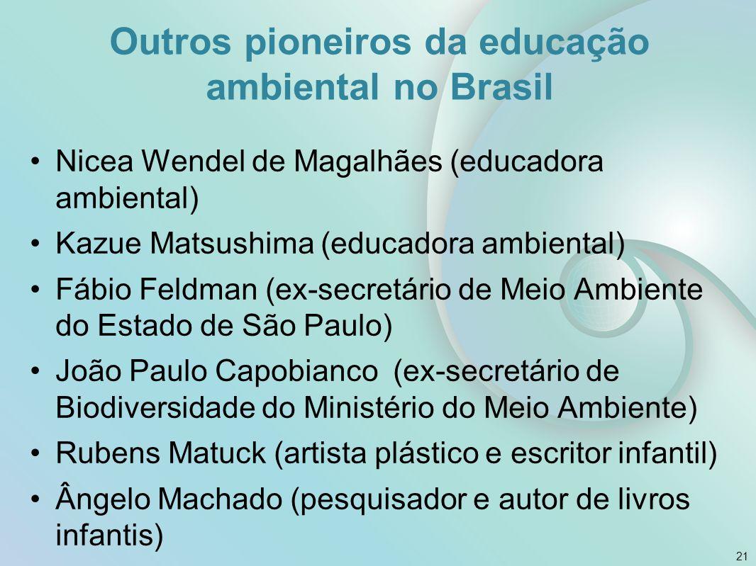 Nicea Wendel de Magalhães (educadora ambiental) Kazue Matsushima (educadora ambiental) Fábio Feldman (ex-secretário de Meio Ambiente do Estado de São