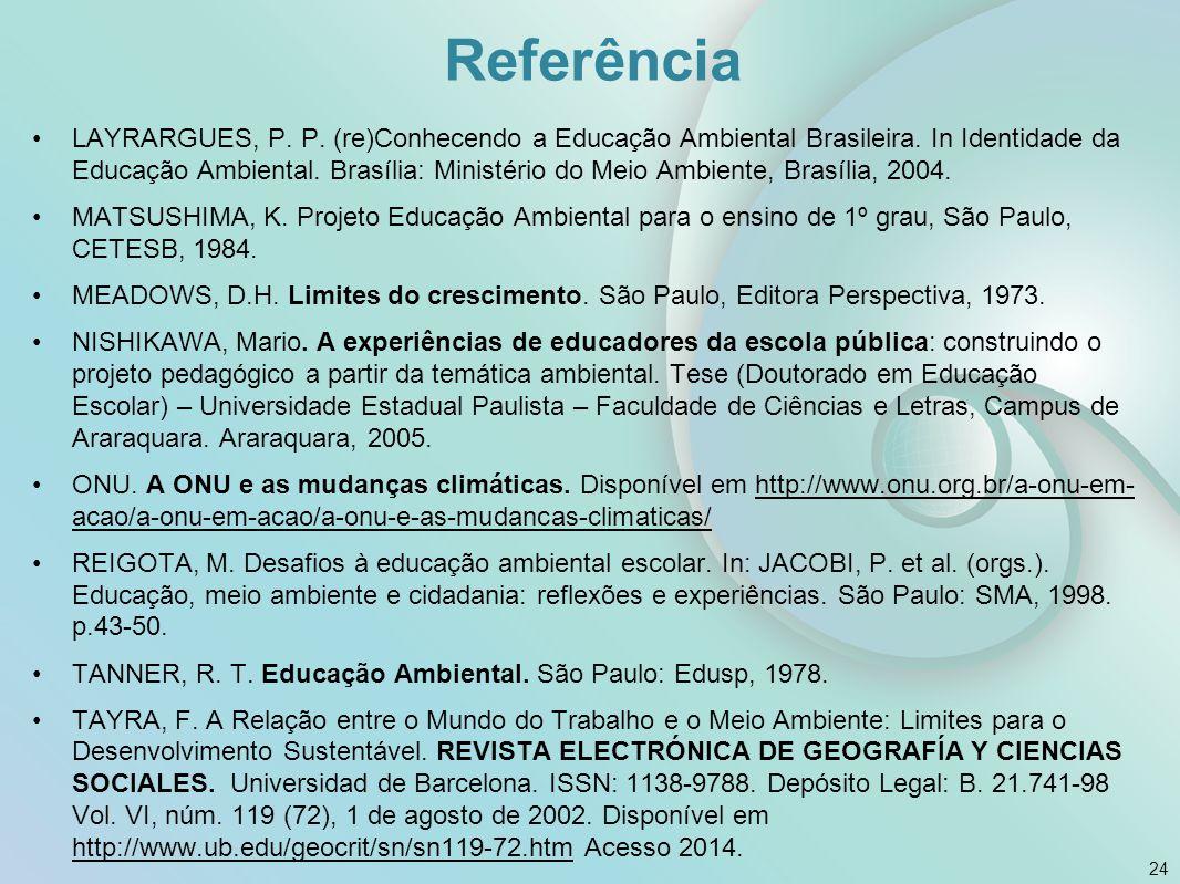 Referência LAYRARGUES, P. P. (re)Conhecendo a Educação Ambiental Brasileira. In Identidade da Educação Ambiental. Brasília: Ministério do Meio Ambient