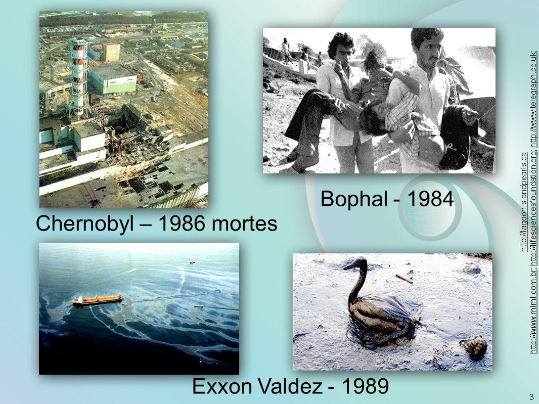 3 Chernobyl – 1986 mortes Bophal - 1984 Exxon Valdez - 1989 http://lagoonislandpearls.ca http://www.mlml.com.brhttp://www.mlml.com.br; http://lifescie