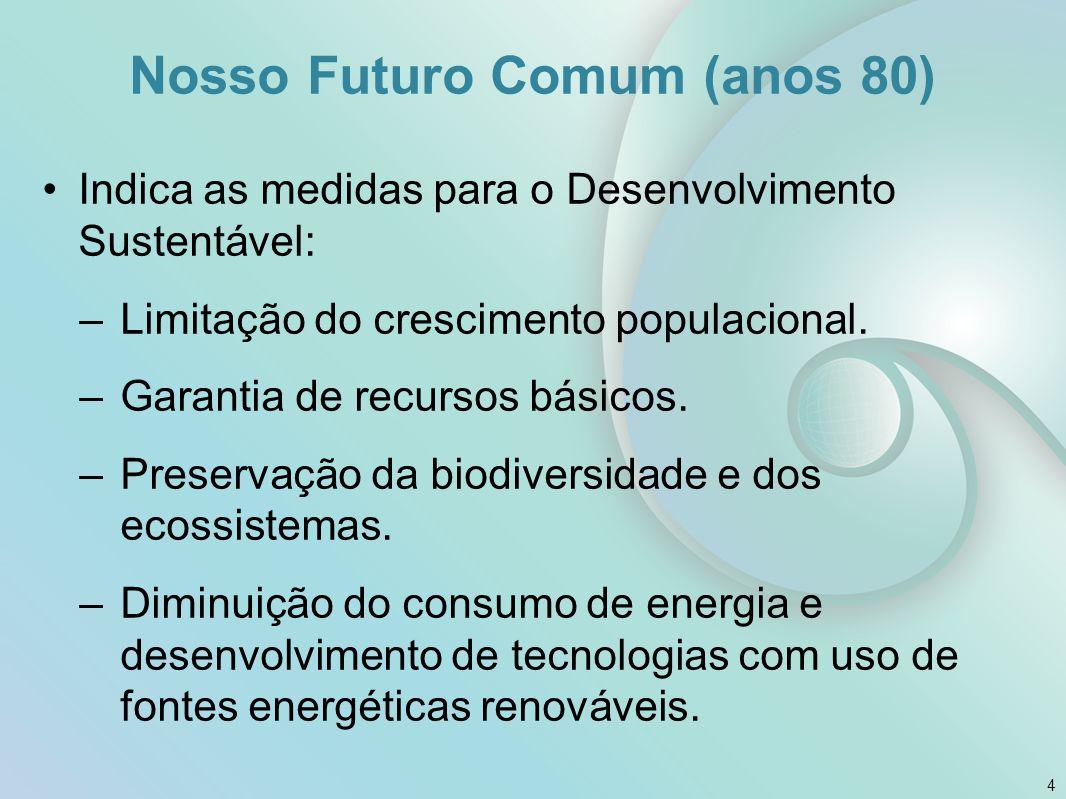 Nosso Futuro Comum (anos 80) Indica as medidas para o Desenvolvimento Sustentável: –Limitação do crescimento populacional. –Garantia de recursos básic
