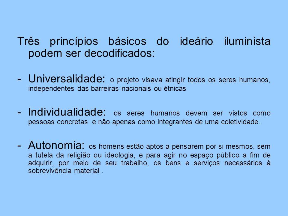 Três princípios básicos do ideário iluminista podem ser decodificados: -Universalidade: o projeto visava atingir todos os seres humanos, independentes