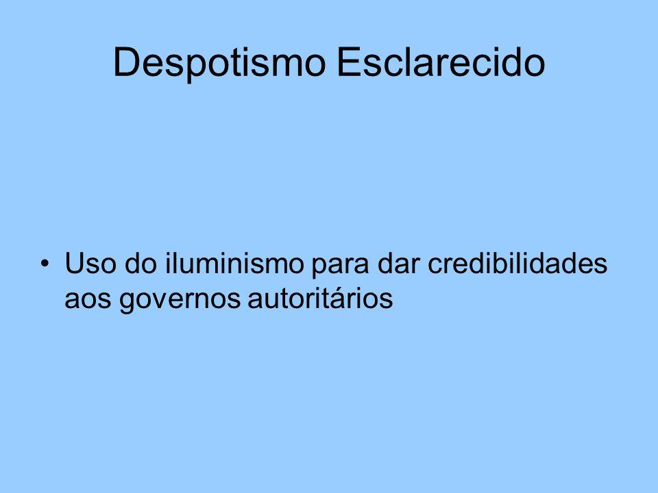 Despotismo Esclarecido Uso do iluminismo para dar credibilidades aos governos autoritários
