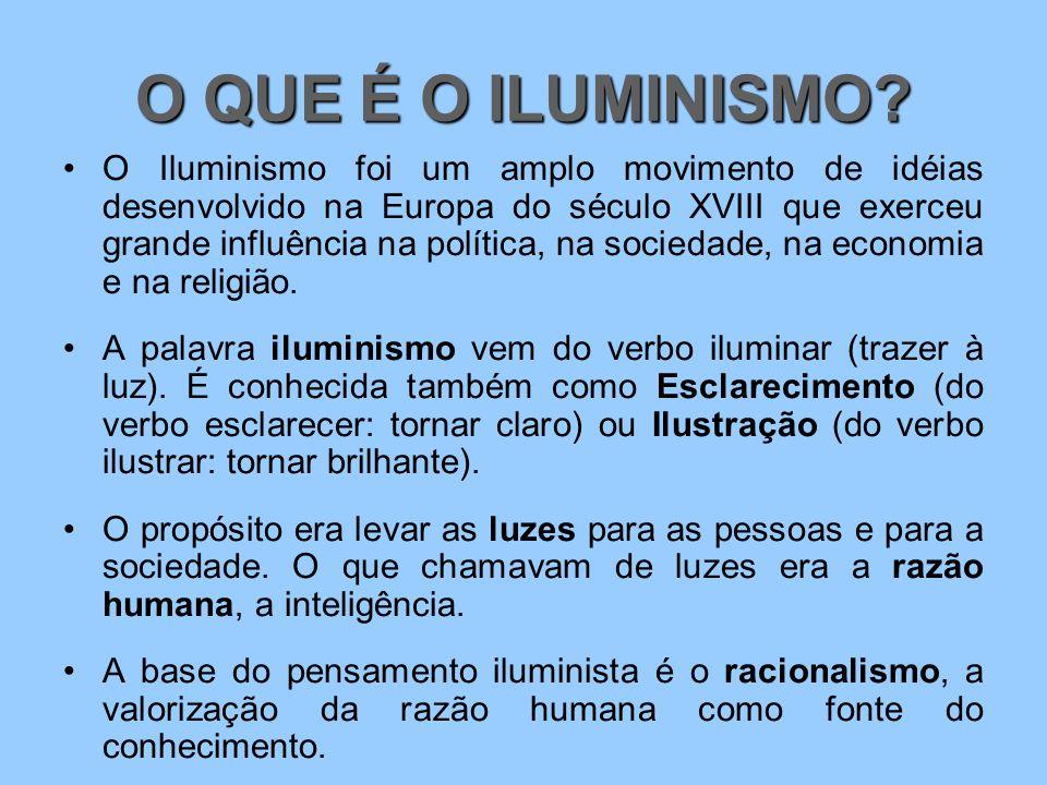 O QUE É O ILUMINISMO? O Iluminismo foi um amplo movimento de idéias desenvolvido na Europa do século XVIII que exerceu grande influência na política,