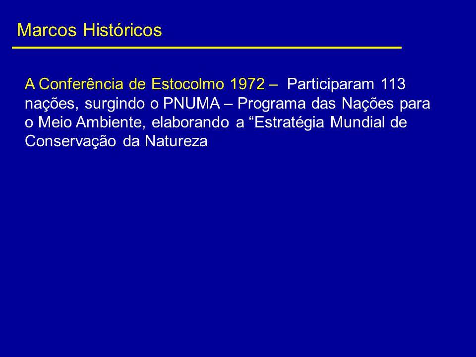 Marcos Históricos A Conferência de Estocolmo 1972 – Participaram 113 nações, surgindo o PNUMA – Programa das Nações para o Meio Ambiente, elaborando a