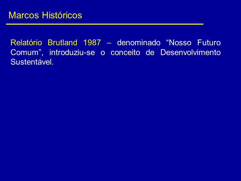 """Marcos Históricos Relatório Brutland 1987 – denominado """"Nosso Futuro Comum"""", introduziu-se o conceito de Desenvolvimento Sustentável."""