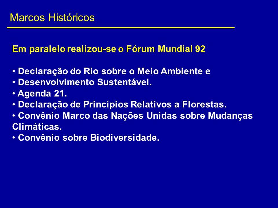 Marcos Históricos Em paralelo realizou-se o Fórum Mundial 92 Declaração do Rio sobre o Meio Ambiente e Desenvolvimento Sustentável. Agenda 21. Declara