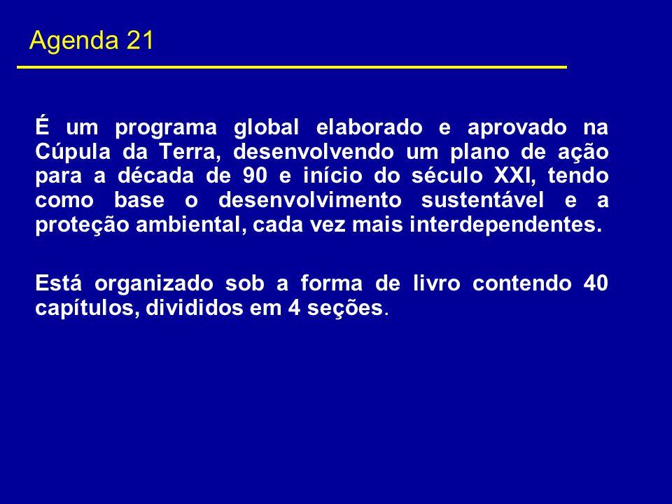 Agenda 21 É um programa global elaborado e aprovado na Cúpula da Terra, desenvolvendo um plano de ação para a década de 90 e início do século XXI, ten