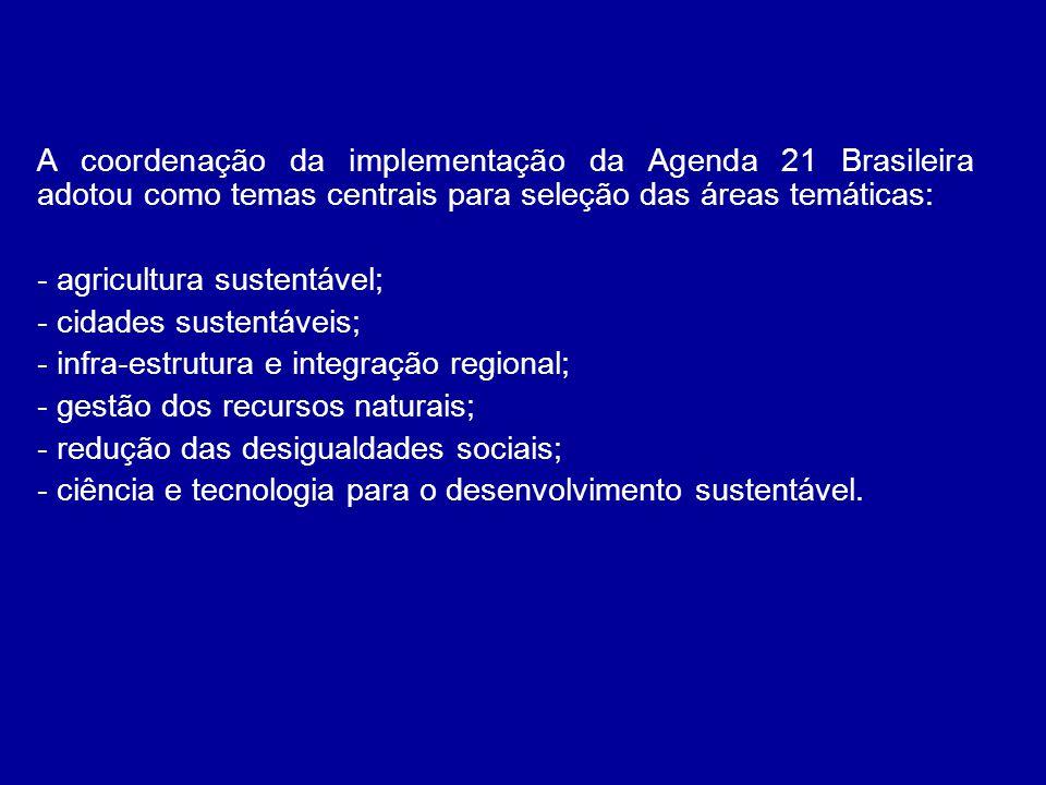 A coordenação da implementação da Agenda 21 Brasileira adotou como temas centrais para seleção das áreas temáticas: - agricultura sustentável; - cidad