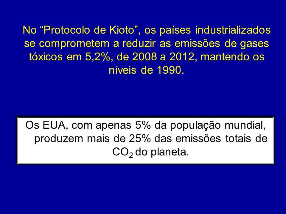 """Os EUA, com apenas 5% da população mundial, produzem mais de 25% das emissões totais de CO 2 do planeta. No """"Protocolo de Kioto"""", os países industrial"""