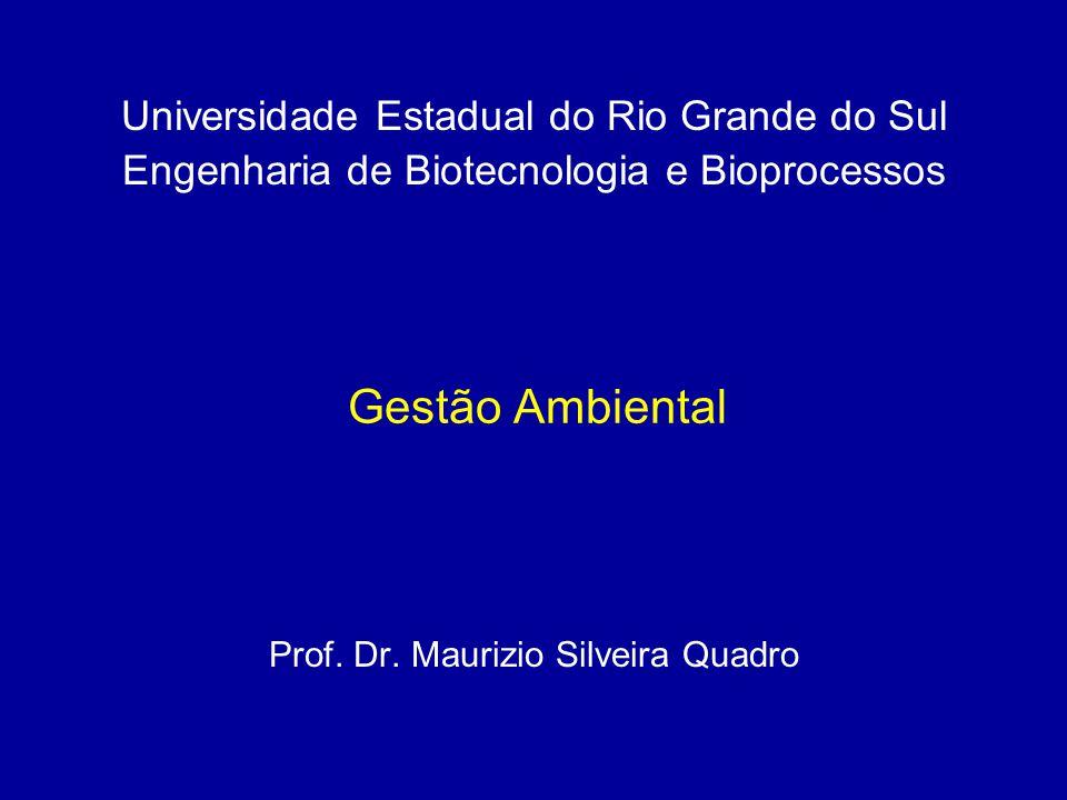 Gestão Ambiental Prof. Dr. Maurizio Silveira Quadro Universidade Estadual do Rio Grande do Sul Engenharia de Biotecnologia e Bioprocessos