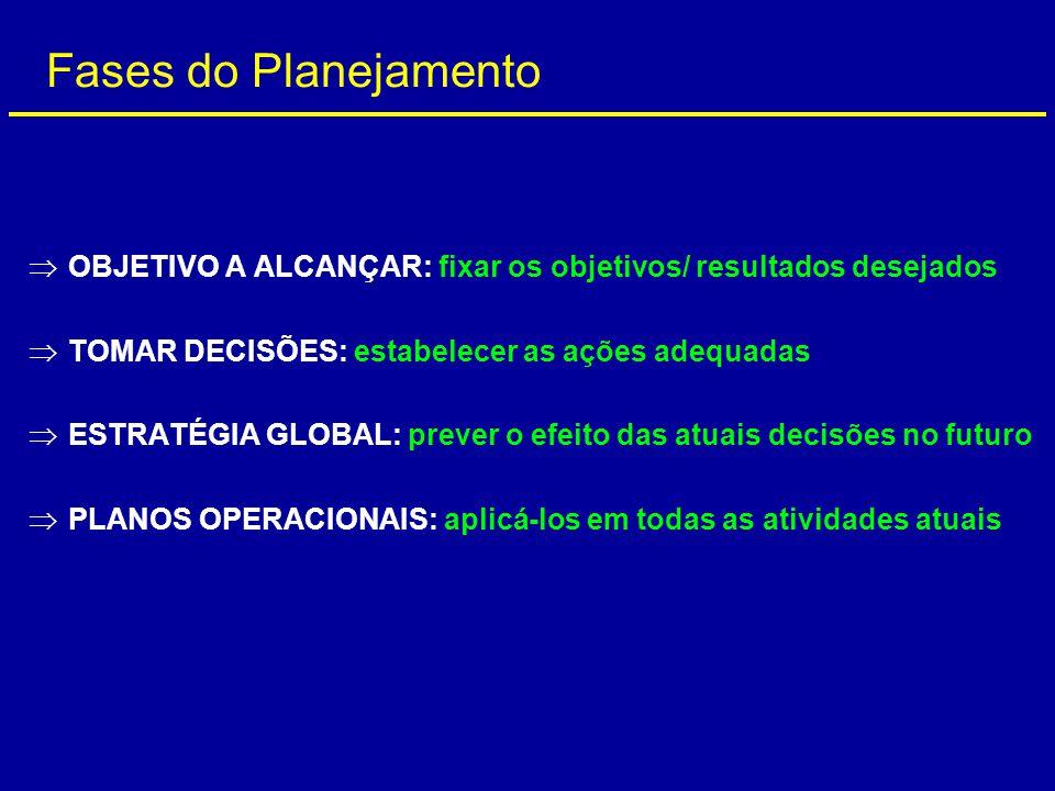  OBJETIVO A ALCANÇAR: fixar os objetivos/ resultados desejados  TOMAR DECISÕES: estabelecer as ações adequadas  ESTRATÉGIA GLOBAL: prever o efeito