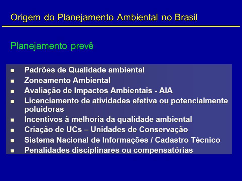 Origem do Planejamento Ambiental no Brasil Planejamento prevê