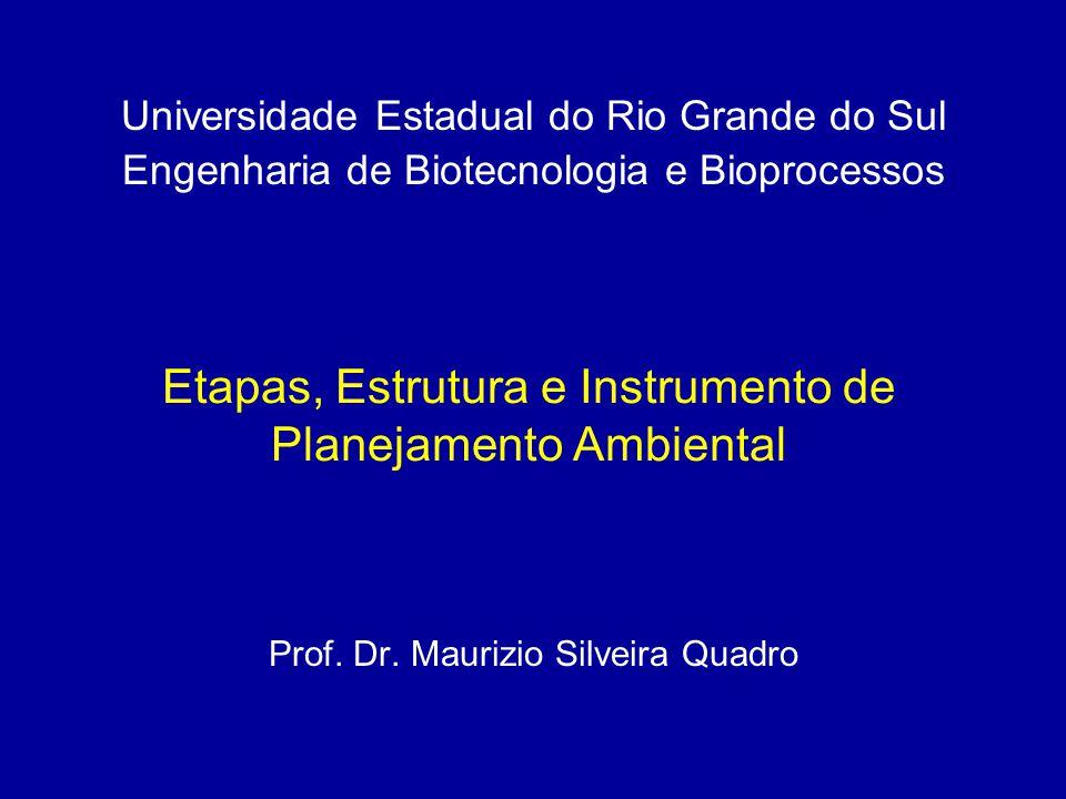 Etapas, Estrutura e Instrumento de Planejamento Ambiental Prof. Dr. Maurizio Silveira Quadro Universidade Estadual do Rio Grande do Sul Engenharia de