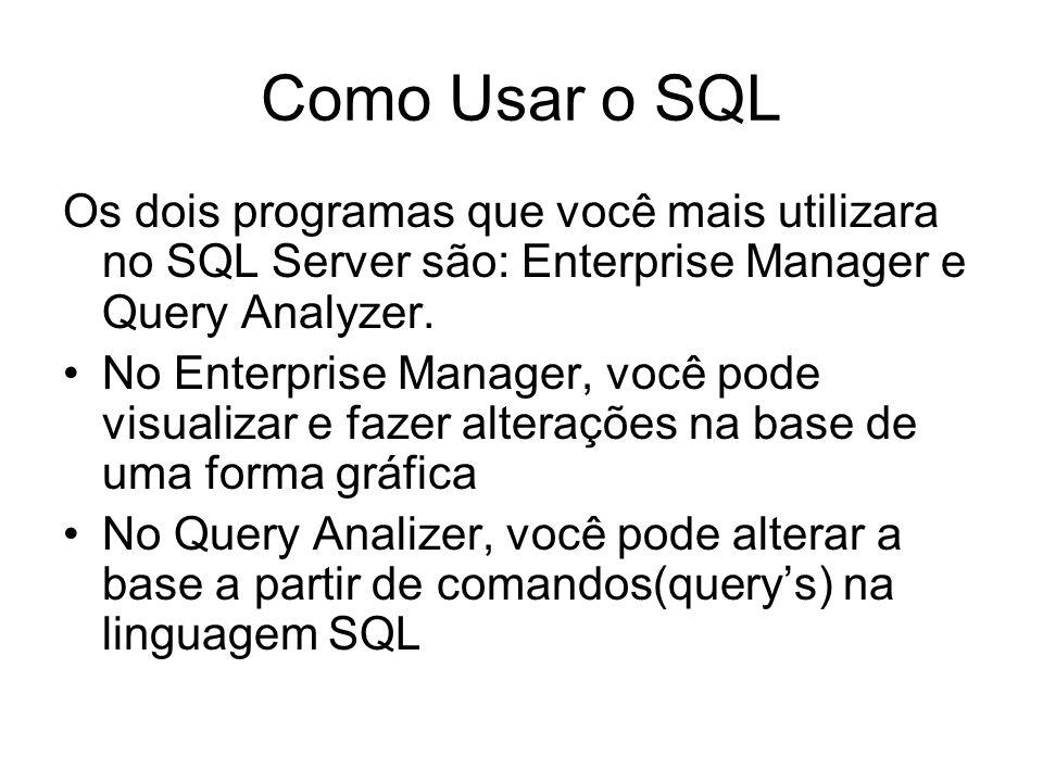 Como Usar o SQL Os dois programas que você mais utilizara no SQL Server são: Enterprise Manager e Query Analyzer. No Enterprise Manager, você pode vis