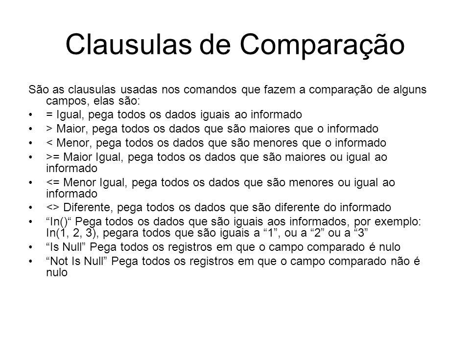 Clausulas de Comparação São as clausulas usadas nos comandos que fazem a comparação de alguns campos, elas são: = Igual, pega todos os dados iguais ao