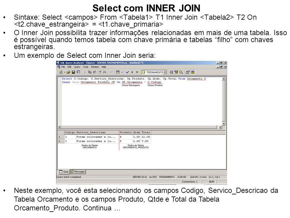 Select com INNER JOIN Sintaxe: Select From T1 Inner Join T2 On = O Inner Join possibilita trazer informações relacionadas em mais de uma tabela. Isso