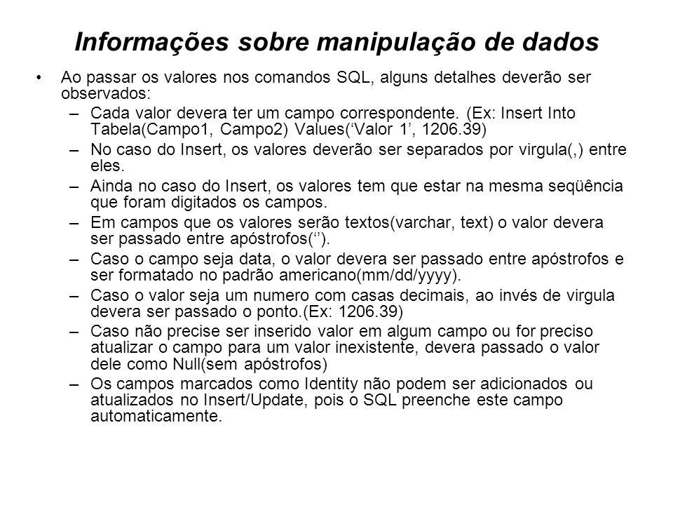 Informações sobre manipulação de dados Ao passar os valores nos comandos SQL, alguns detalhes deverão ser observados: –Cada valor devera ter um campo