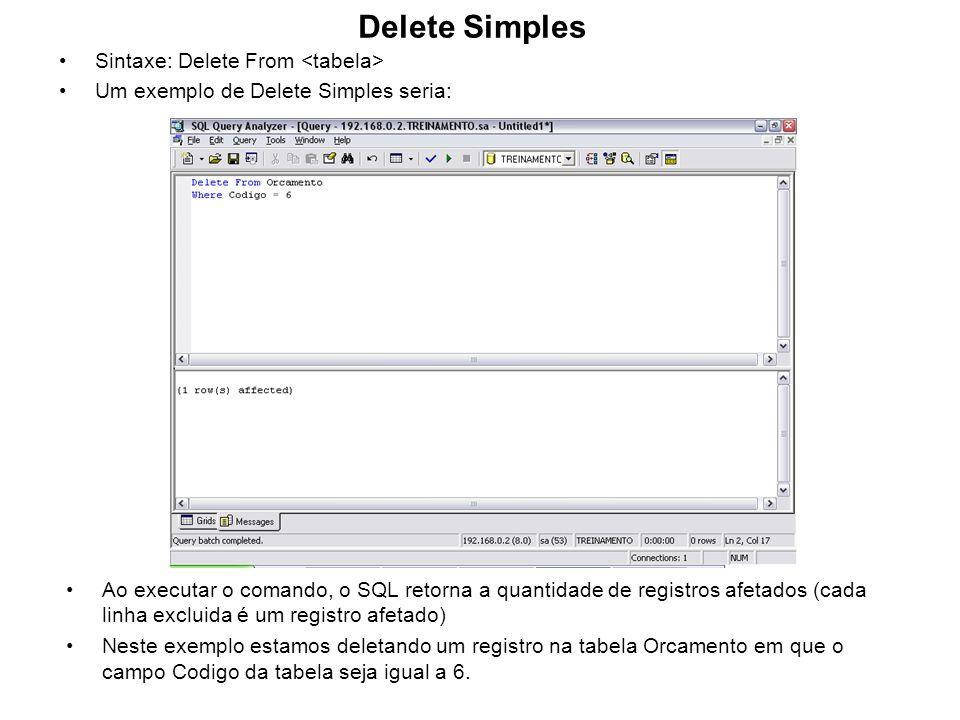 Delete Simples Sintaxe: Delete From Um exemplo de Delete Simples seria: Ao executar o comando, o SQL retorna a quantidade de registros afetados (cada
