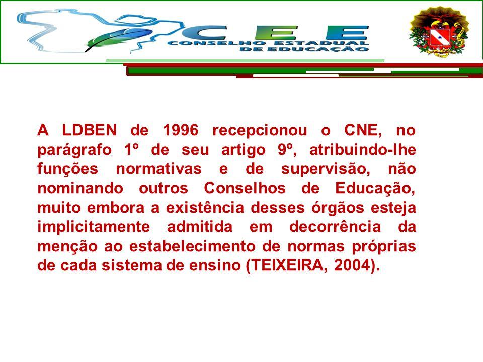 A LDBEN de 1996 recepcionou o CNE, no parágrafo 1º de seu artigo 9º, atribuindo-lhe funções normativas e de supervisão, não nominando outros Conselhos