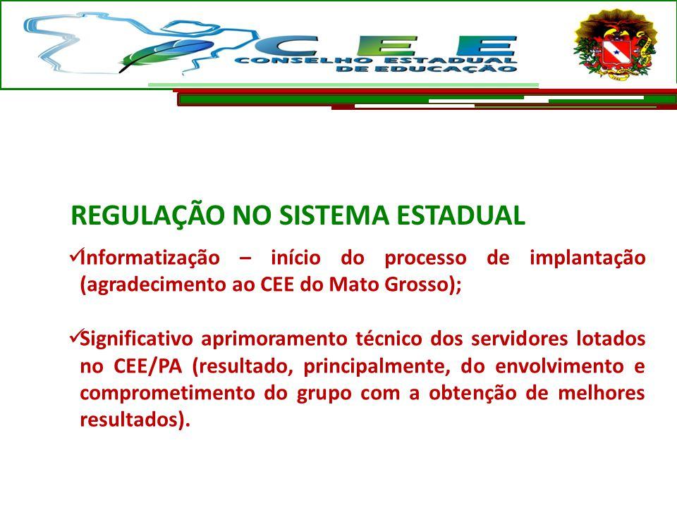 Informatização – início do processo de implantação (agradecimento ao CEE do Mato Grosso); Significativo aprimoramento técnico dos servidores lotados n