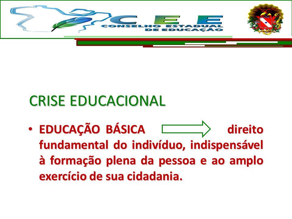 CRISE EDUCACIONAL EDUCAÇÃO BÁSICA direito fundamental do indivíduo, indispensável à formação plena da pessoa e ao amplo exercício de sua cidadania. ED
