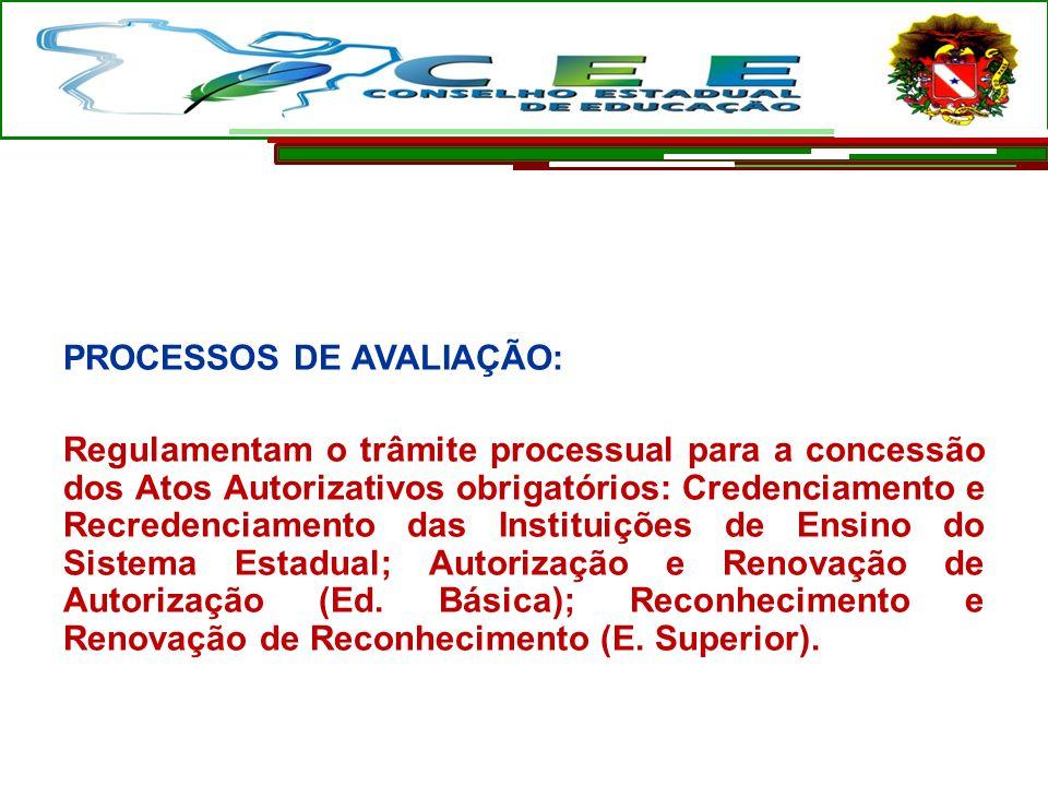 PROCESSOS DE AVALIAÇÃO: Regulamentam o trâmite processual para a concessão dos Atos Autorizativos obrigatórios: Credenciamento e Recredenciamento das