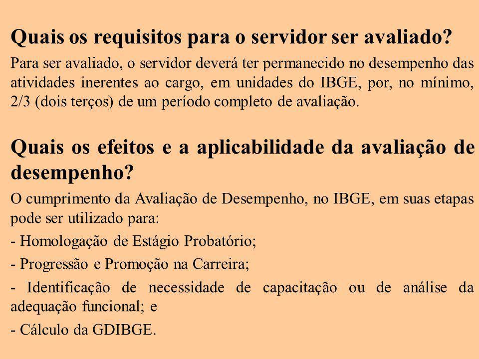 Quais os requisitos para o servidor ser avaliado? Para ser avaliado, o servidor deverá ter permanecido no desempenho das atividades inerentes ao cargo