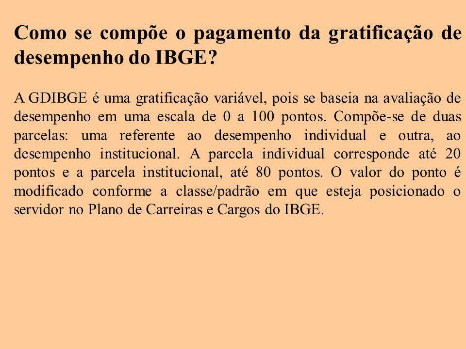 Como se compõe o pagamento da gratificação de desempenho do IBGE? A GDIBGE é uma gratificação variável, pois se baseia na avaliação de desempenho em u