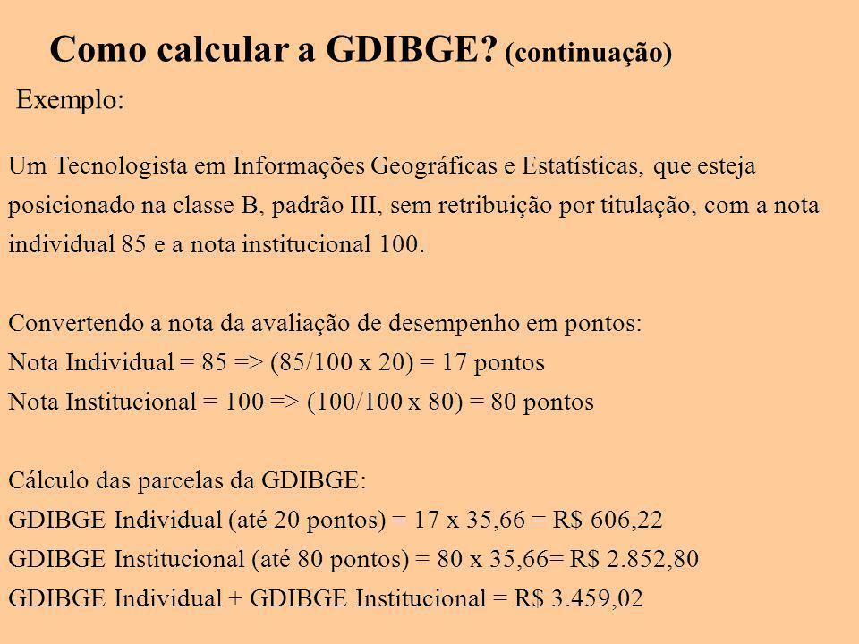 Exemplo: Um Tecnologista em Informações Geográficas e Estatísticas, que esteja posicionado na classe B, padrão III, sem retribuição por titulação, com a nota individual 85 e a nota institucional 100.