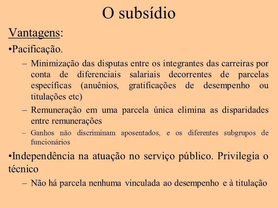 O subsídio Vantagens: Pacificação. –Minimização das disputas entre os integrantes das carreiras por conta de diferenciais salariais decorrentes de par