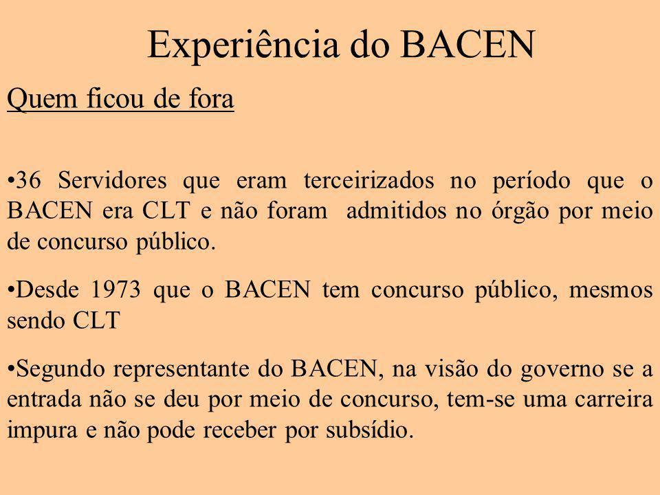 Experiência do BACEN Quem ficou de fora 36 Servidores que eram terceirizados no período que o BACEN era CLT e não foram admitidos no órgão por meio de concurso público.