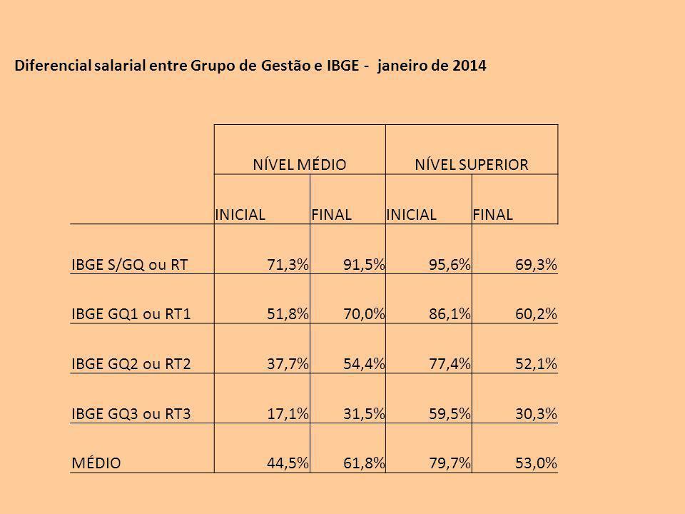 Diferencial salarial entre Grupo de Gestão e IBGE - janeiro de 2014 NÍVEL MÉDIONÍVEL SUPERIOR INICIALFINALINICIALFINAL IBGE S/GQ ou RT71,3%91,5%95,6%69,3% IBGE GQ1 ou RT151,8%70,0%86,1%60,2% IBGE GQ2 ou RT237,7%54,4%77,4%52,1% IBGE GQ3 ou RT317,1%31,5%59,5%30,3% MÉDIO44,5%61,8%79,7%53,0%