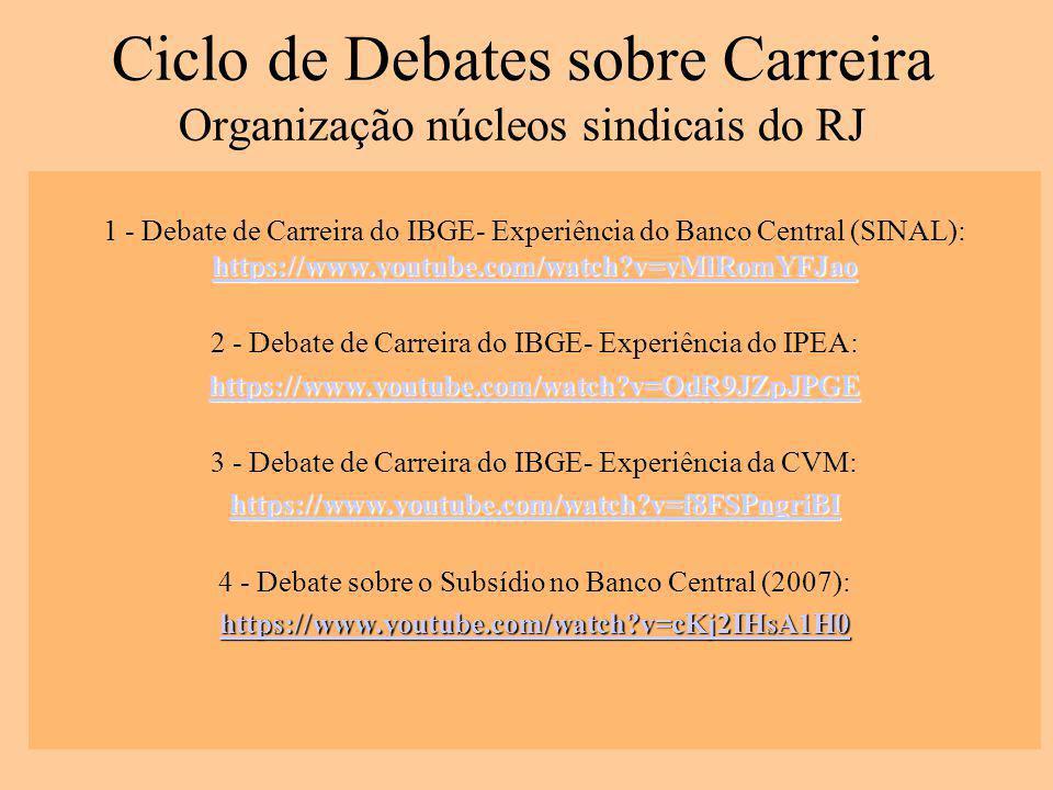 Ciclo de Debates sobre Carreira Organização núcleos sindicais do RJ https://www.youtube.com/watch?v=yMlRomYFJao https://www.youtube.com/watch?v=yMlRomYFJao 1 - Debate de Carreira do IBGE- Experiência do Banco Central (SINAL): https://www.youtube.com/watch?v=yMlRomYFJao https://www.youtube.com/watch?v=yMlRomYFJao 2 - Debate de Carreira do IBGE- Experiência do IPEA: https://www.youtube.com/watch?v=OdR9JZpJPGE 3 - Debate de Carreira do IBGE- Experiência da CVM: https://www.youtube.com/watch?v=f8FSPngriBI 4 - Debate sobre o Subsídio no Banco Central (2007): https://www.youtube.com/watch?v=cKj2IHsA1H0